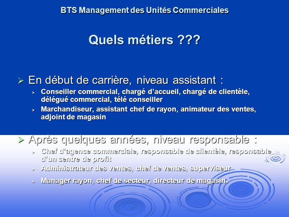 BTS Management des Unités Commerciales Quels métiers