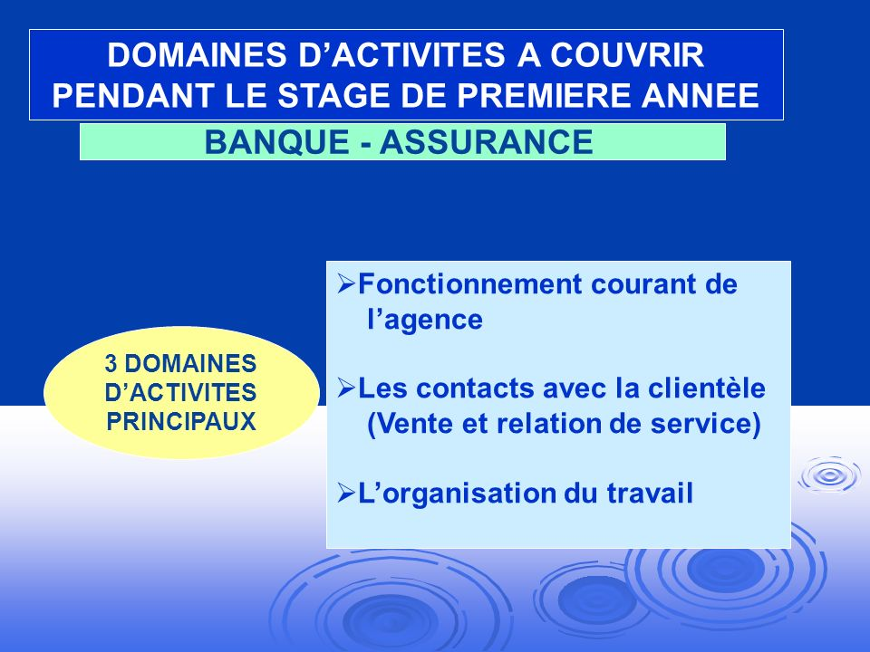 DOMAINES D'ACTIVITES A COUVRIR PENDANT LE STAGE DE PREMIERE ANNEE