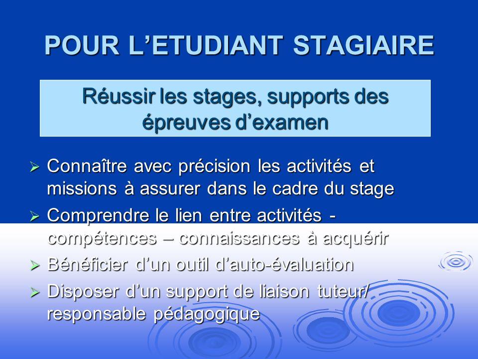 POUR L'ETUDIANT STAGIAIRE