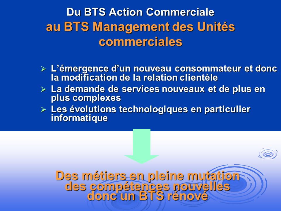 Du BTS Action Commerciale au BTS Management des Unités commerciales