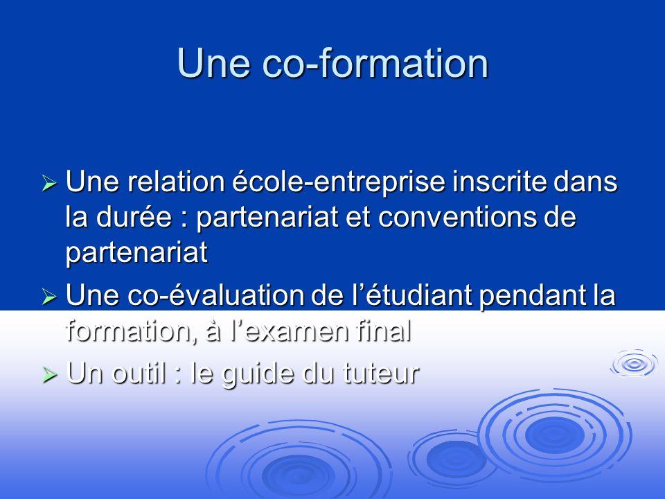 Une co-formation Une relation école-entreprise inscrite dans la durée : partenariat et conventions de partenariat.