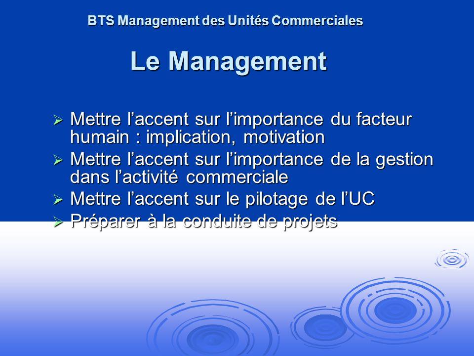 BTS Management des Unités Commerciales Le Management