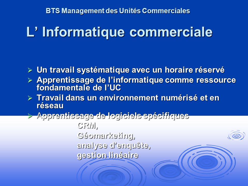 BTS Management des Unités Commerciales L' Informatique commerciale