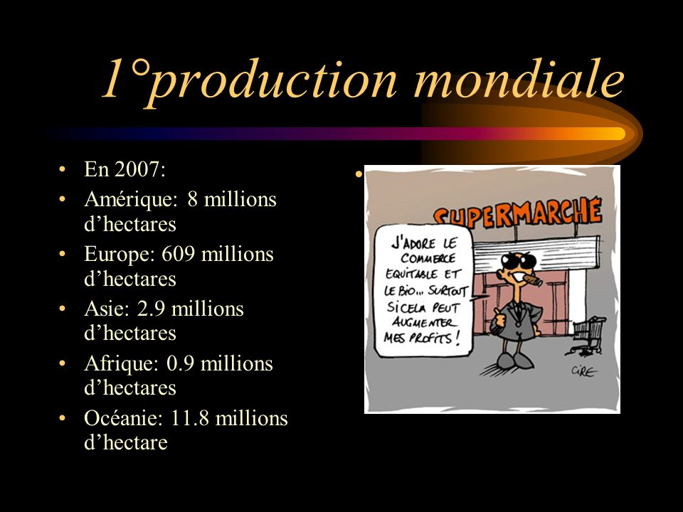 1°production mondiale En 2007: Amérique: 8 millions d'hectares