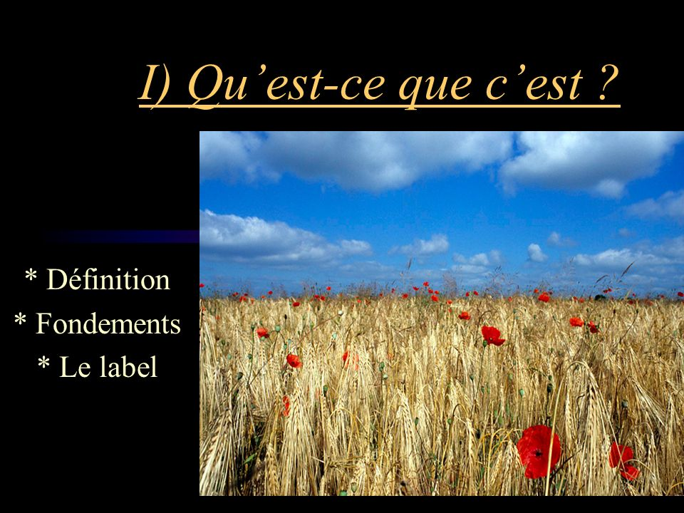 * Définition * Fondements * Le label