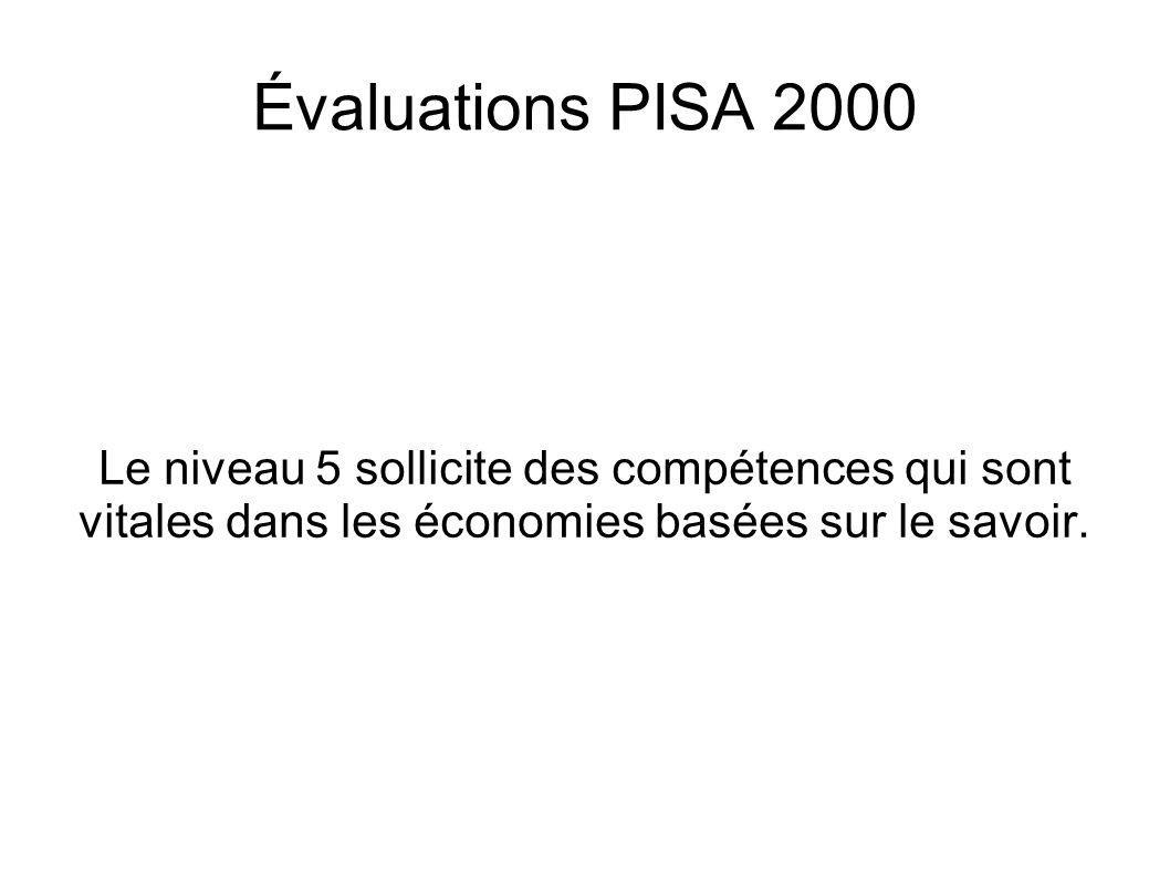 Évaluations PISA 2000 Le niveau 5 sollicite des compétences qui sont vitales dans les économies basées sur le savoir.