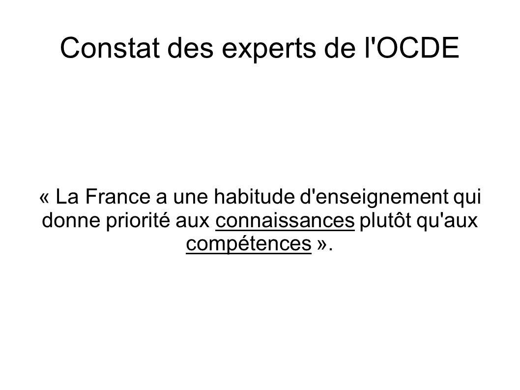 Constat des experts de l OCDE