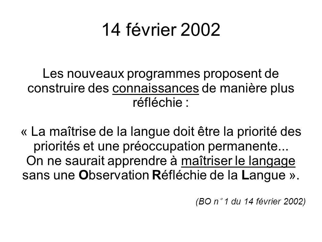 14 février 2002Les nouveaux programmes proposent de construire des connaissances de manière plus réfléchie :