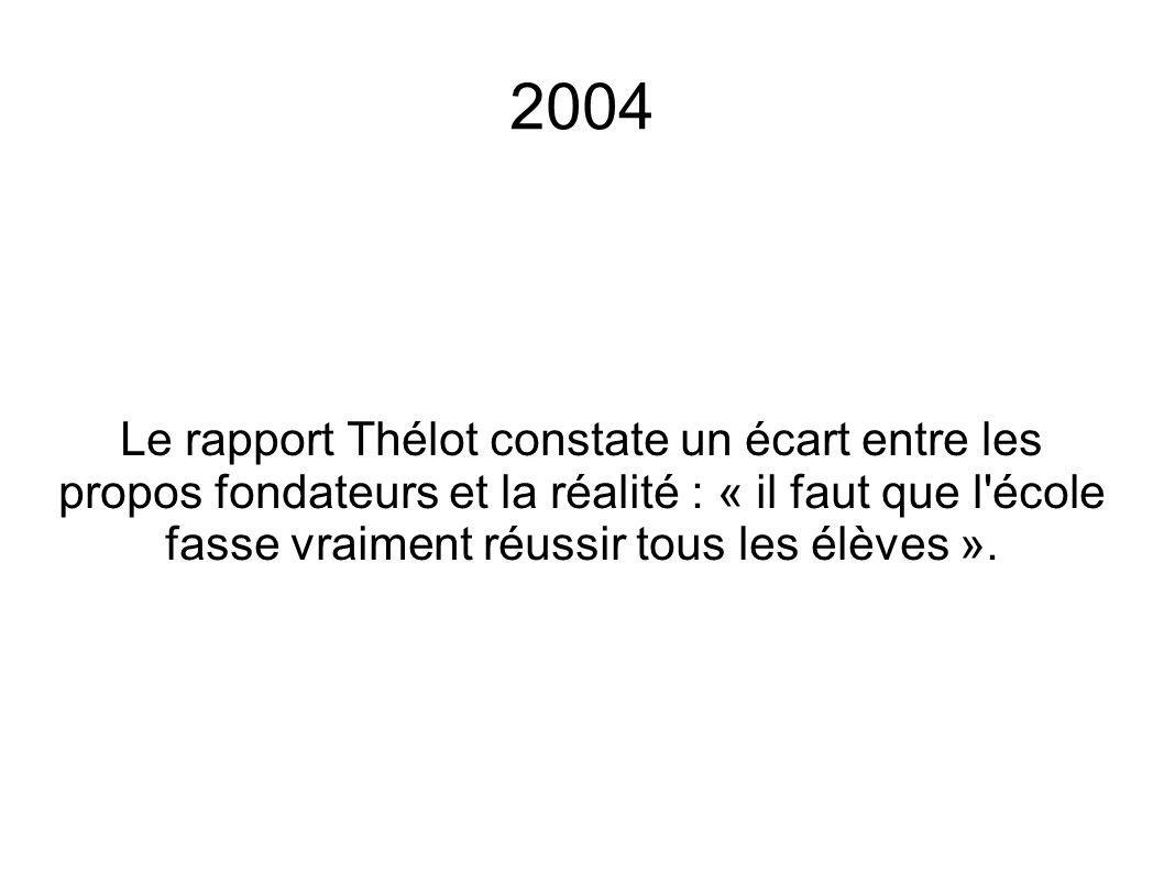 2004 Le rapport Thélot constate un écart entre les propos fondateurs et la réalité : « il faut que l école fasse vraiment réussir tous les élèves ».