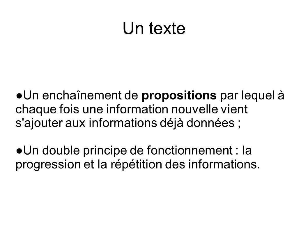 Un texte ●Un enchaînement de propositions par lequel à chaque fois une information nouvelle vient s ajouter aux informations déjà données ;