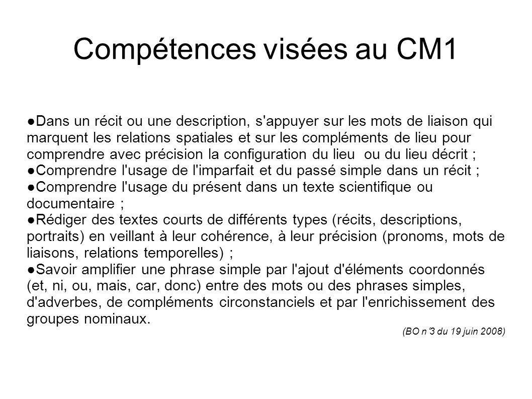 Compétences visées au CM1