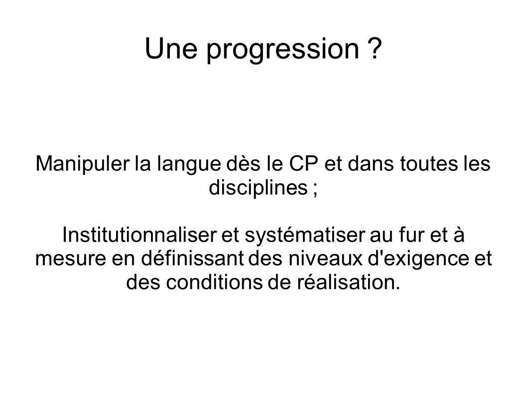 Manipuler la langue dès le CP et dans toutes les disciplines ;