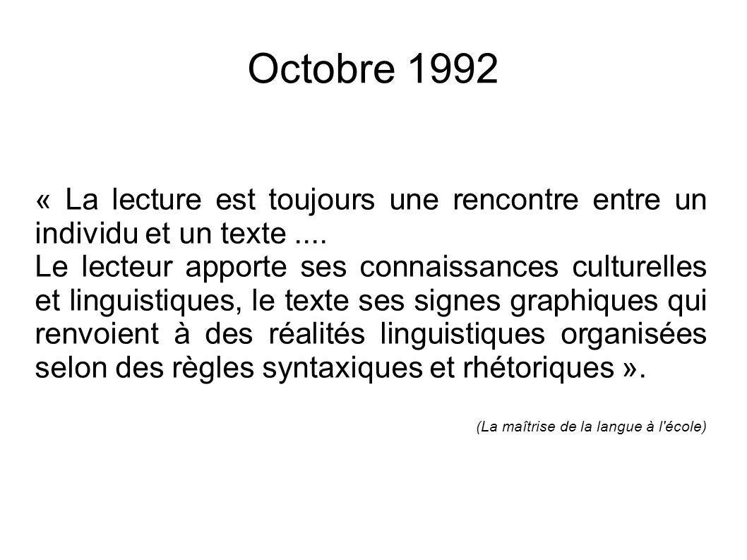 Octobre 1992 « La lecture est toujours une rencontre entre un individu et un texte ....