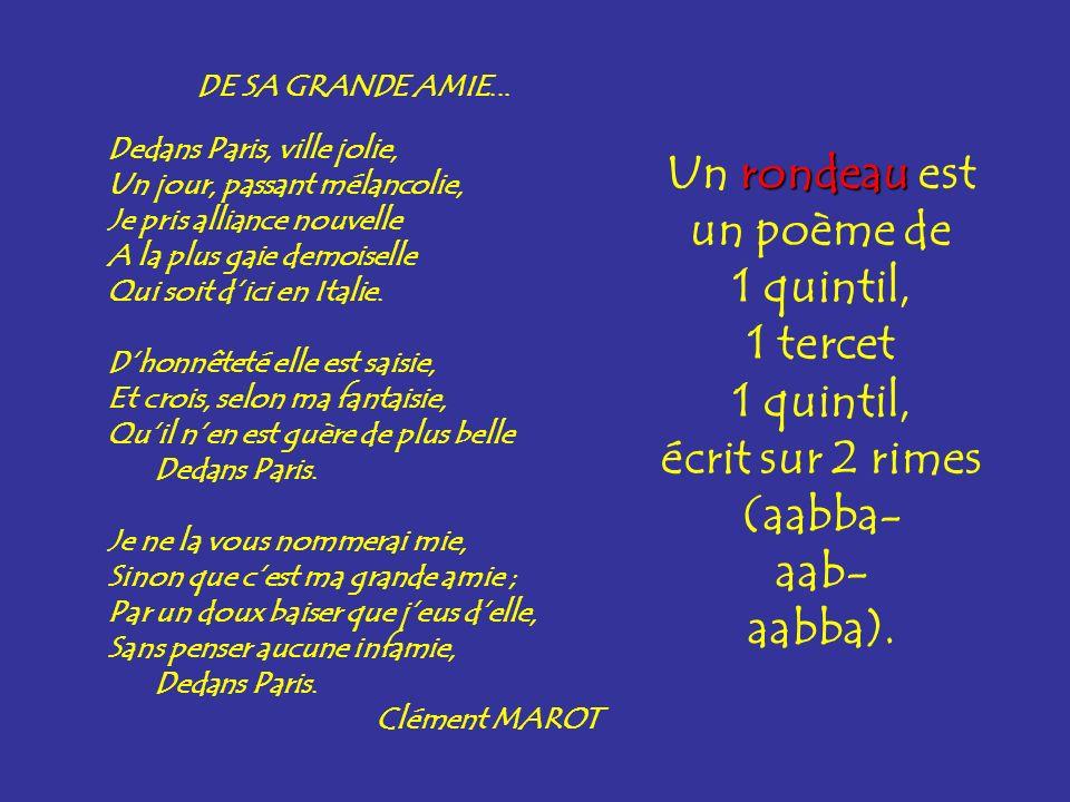 Un rondeau est un poème de 1 quintil, 1 tercet écrit sur 2 rimes