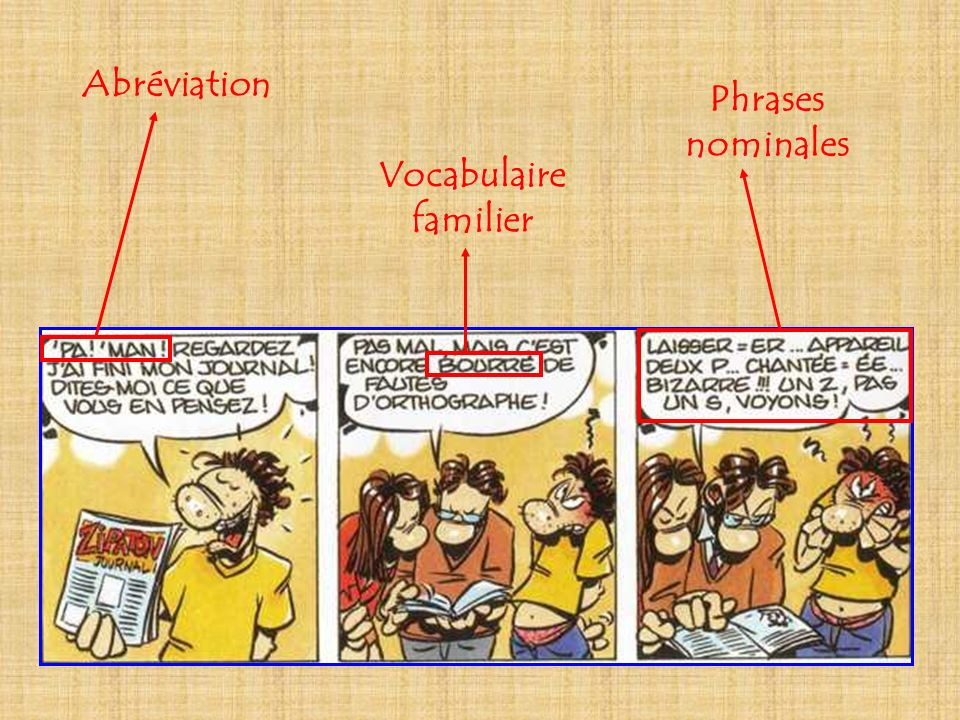 Abréviation Phrases nominales Vocabulaire familier