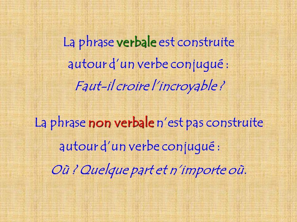 La phrase verbale est construite autour d'un verbe conjugué :