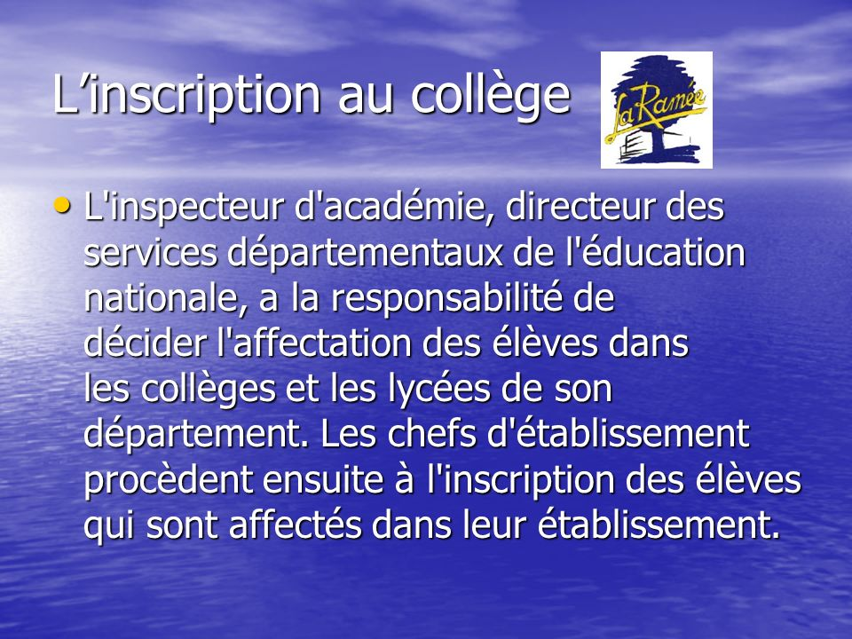 L'inscription au collège