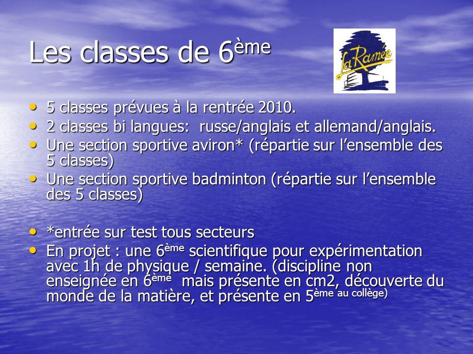 Les classes de 6ème 5 classes prévues à la rentrée 2010.