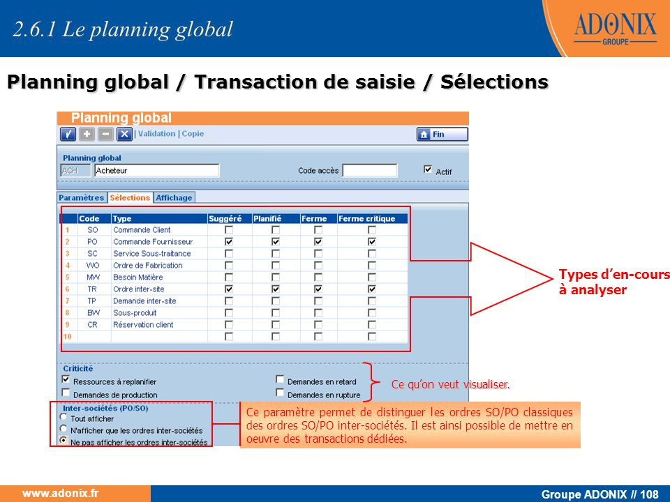 2.6.1 Le planning global Planning global / Transaction de saisie / Sélections. Types d'en-cours à analyser.
