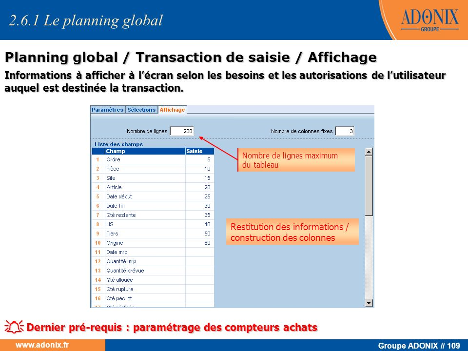 2.6.1 Le planning global Planning global / Transaction de saisie / Affichage.