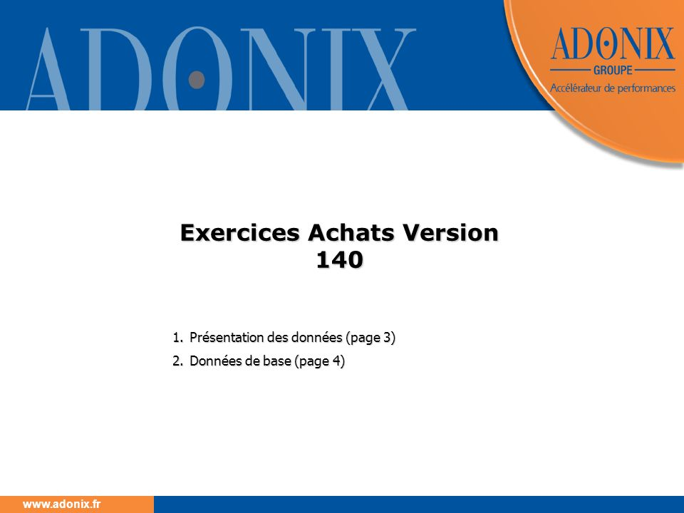 Exercices Achats Version 140