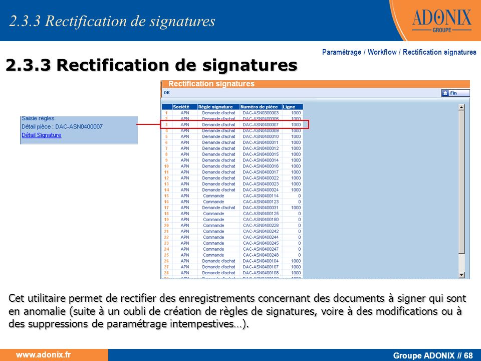 2.3.3 Rectification de signatures