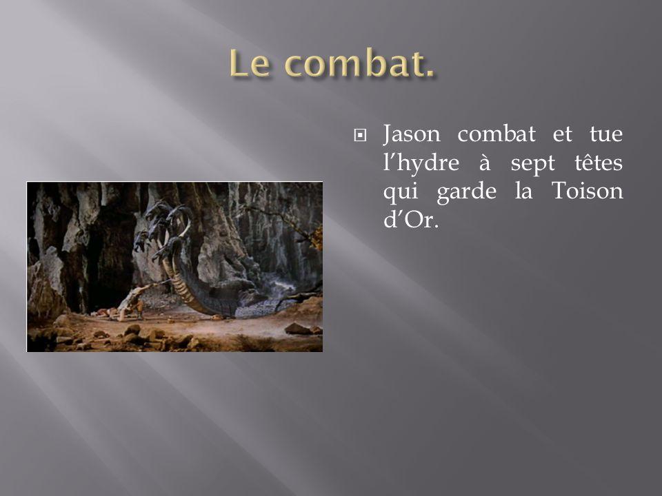 Le combat. Jason combat et tue l'hydre à sept têtes qui garde la Toison d'Or.
