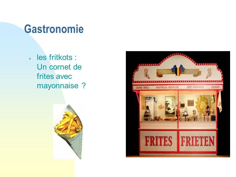 Gastronomie les fritkots : Un cornet de frites avec mayonnaise