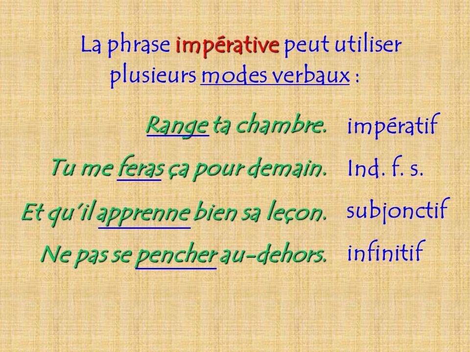 La phrase impérative peut utiliser plusieurs modes verbaux :