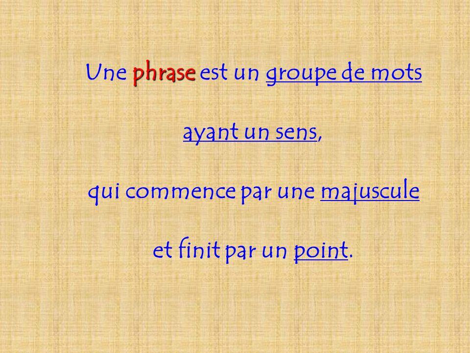 Une phrase est un groupe de mots qui commence par une majuscule