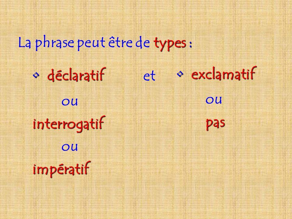 La phrase peut être de types :