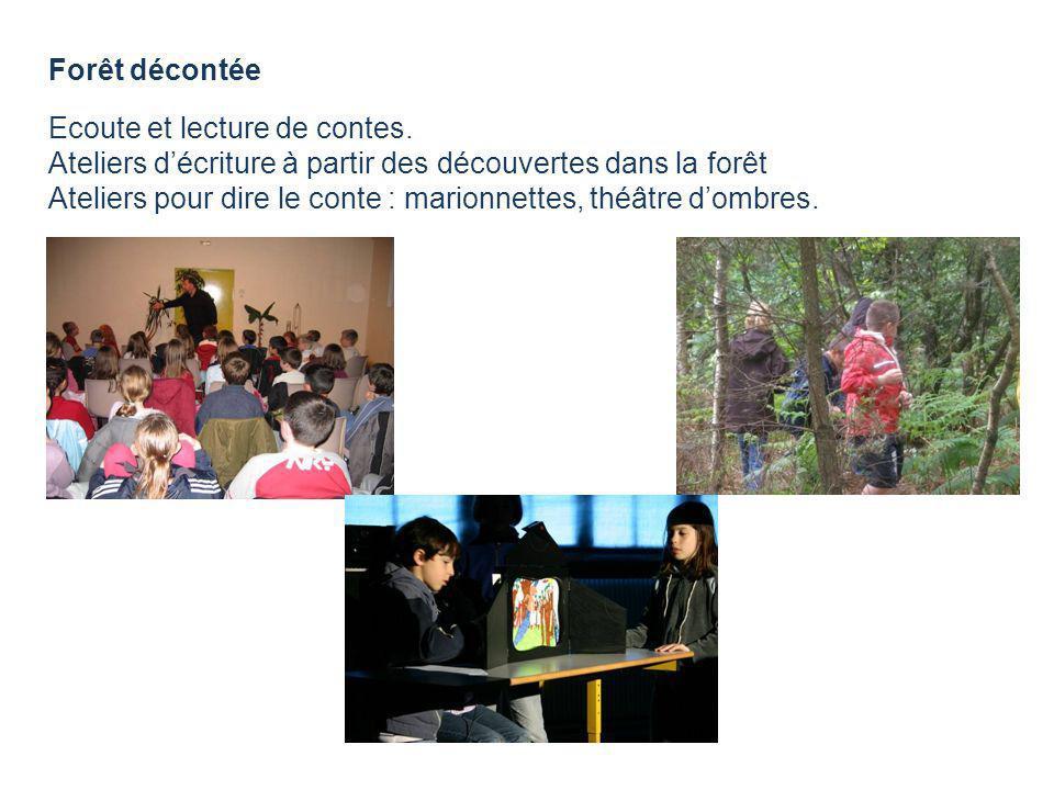 Forêt décontée Ecoute et lecture de contes. Ateliers d'écriture à partir des découvertes dans la forêt.