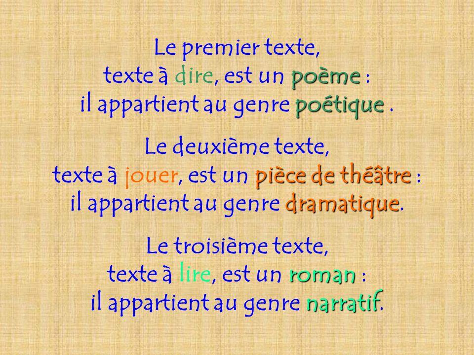 texte à dire, est un poème : il appartient au genre poétique .