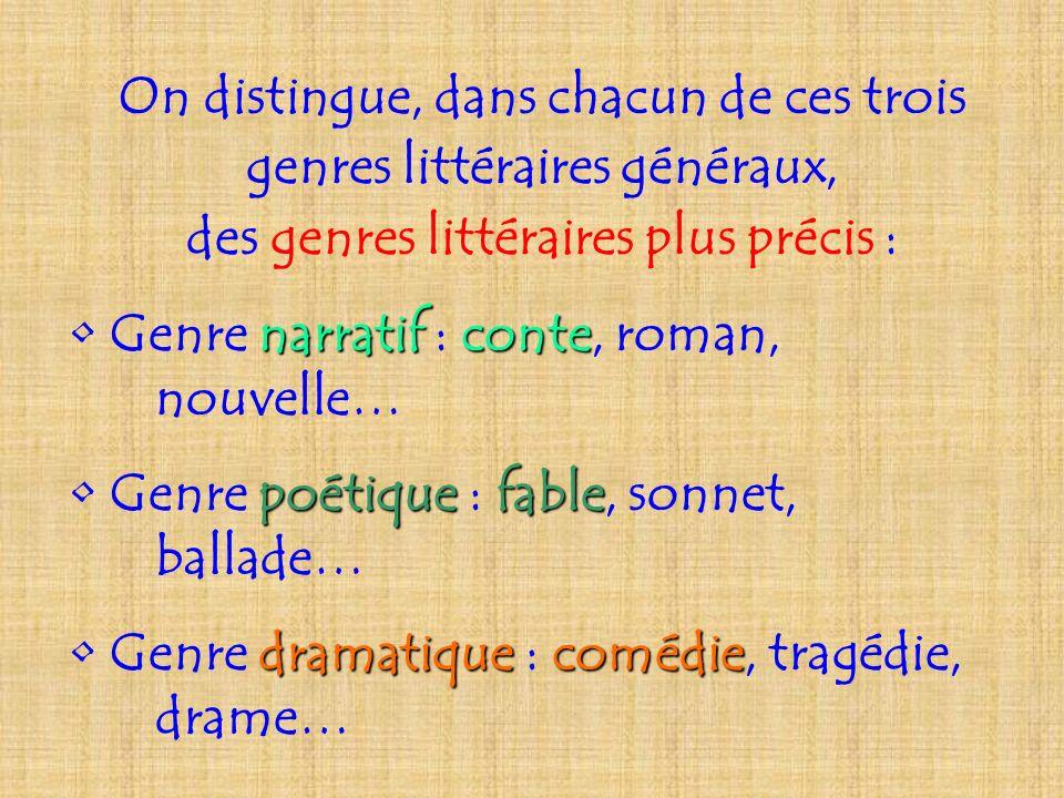 On distingue, dans chacun de ces trois genres littéraires généraux,