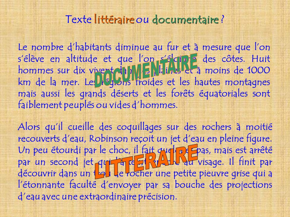 Texte littéraire ou documentaire