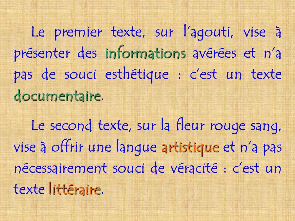 Le premier texte, sur l'agouti, vise à présenter des informations avérées et n'a pas de souci esthétique : c'est un texte documentaire.