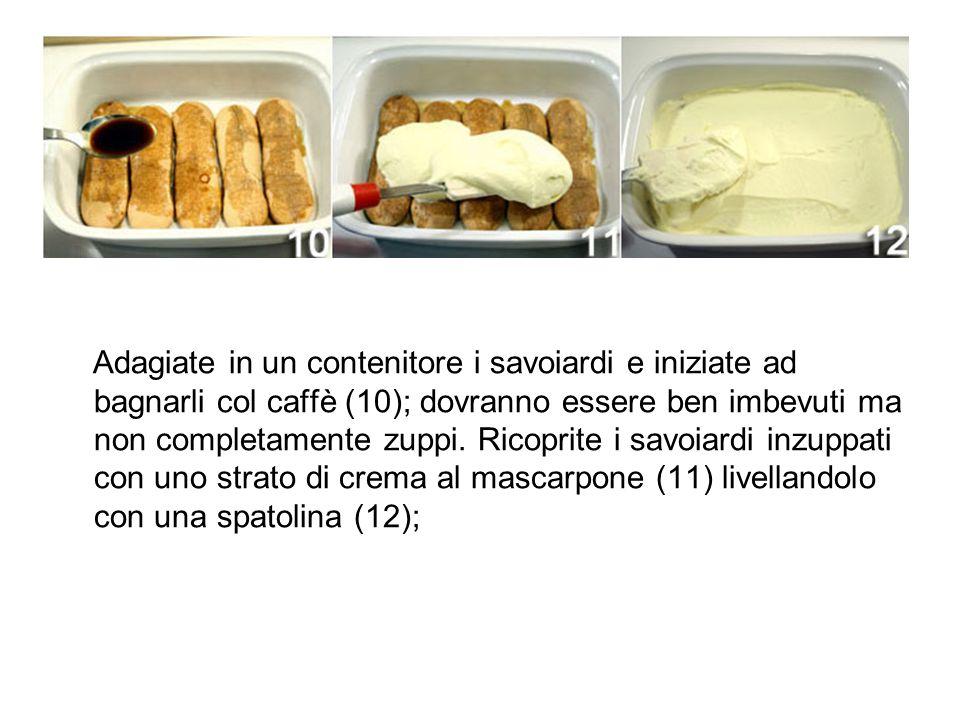 Adagiate in un contenitore i savoiardi e iniziate ad bagnarli col caffè (10); dovranno essere ben imbevuti ma non completamente zuppi.