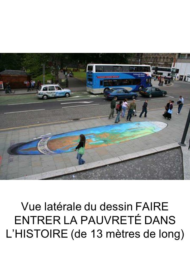 Vue latérale du dessin FAIRE ENTRER LA PAUVRETÉ DANS L'HISTOIRE (de 13 mètres de long)