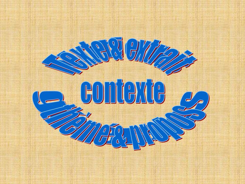 Texte & extrait contexte thème & propos Notions générales