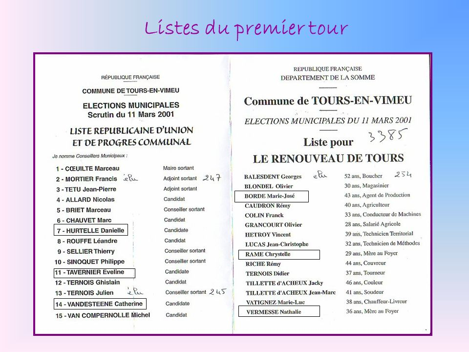 Listes du premier tour
