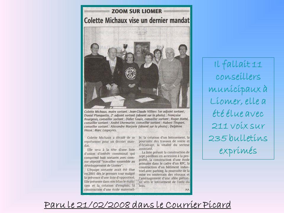 Il fallait 11 conseillers municipaux à Liomer, elle a été élue avec 211 voix sur 235 bulletins exprimés