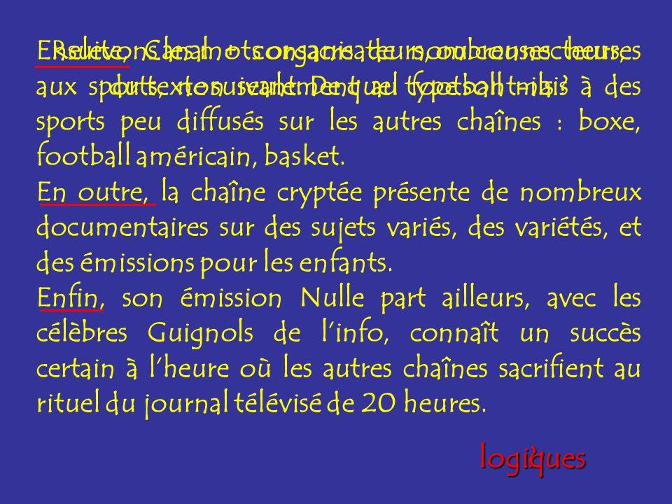 Ensuite, Canal + consacre de nombreuses heures aux sports, non seulement au football mais à des sports peu diffusés sur les autres chaînes : boxe, football américain, basket.