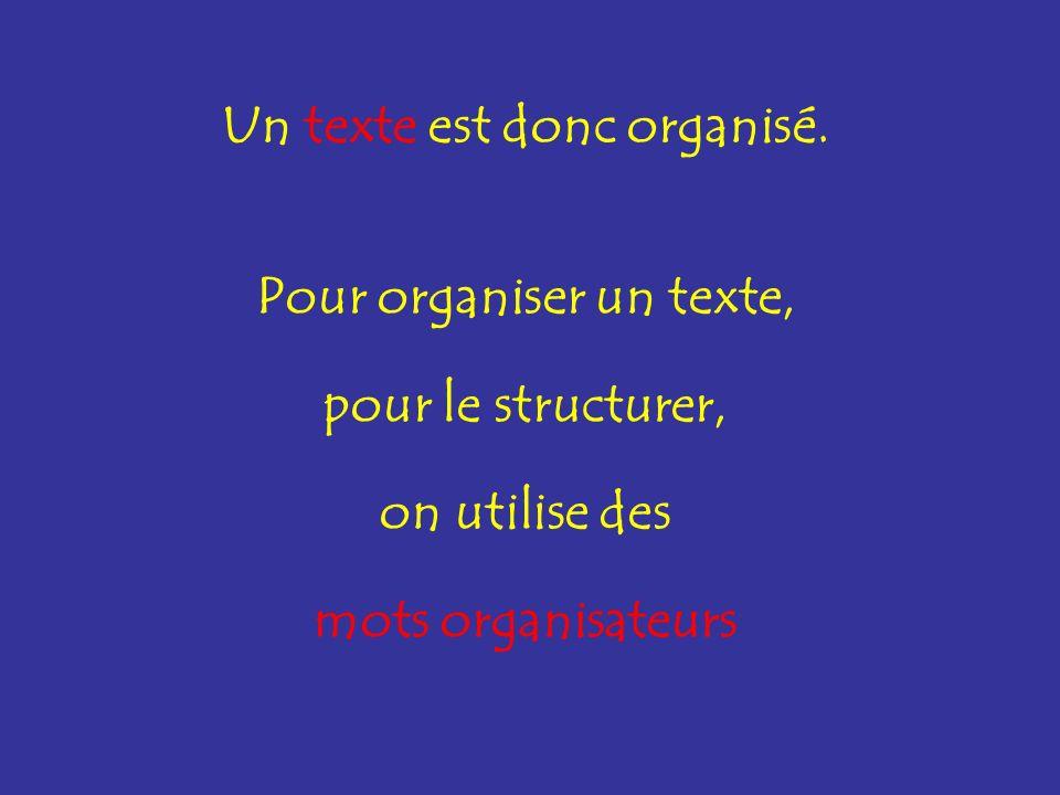 Pour organiser un texte,