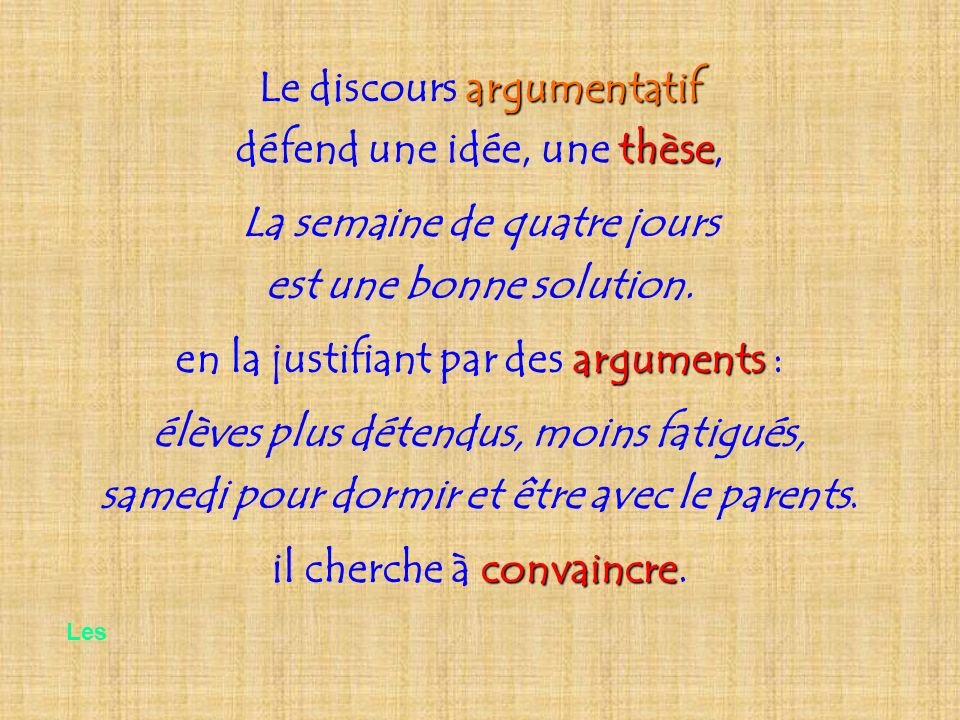 Le discours argumentatif défend une idée, une thèse,
