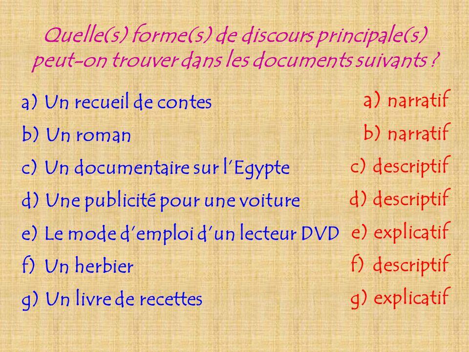 Quelle(s) forme(s) de discours principale(s) peut-on trouver dans les documents suivants