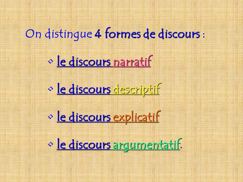 On distingue 4 formes de discours :