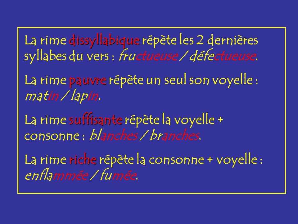 La rime dissyllabique répète les 2 dernières syllabes du vers : fructueuse / défectueuse.
