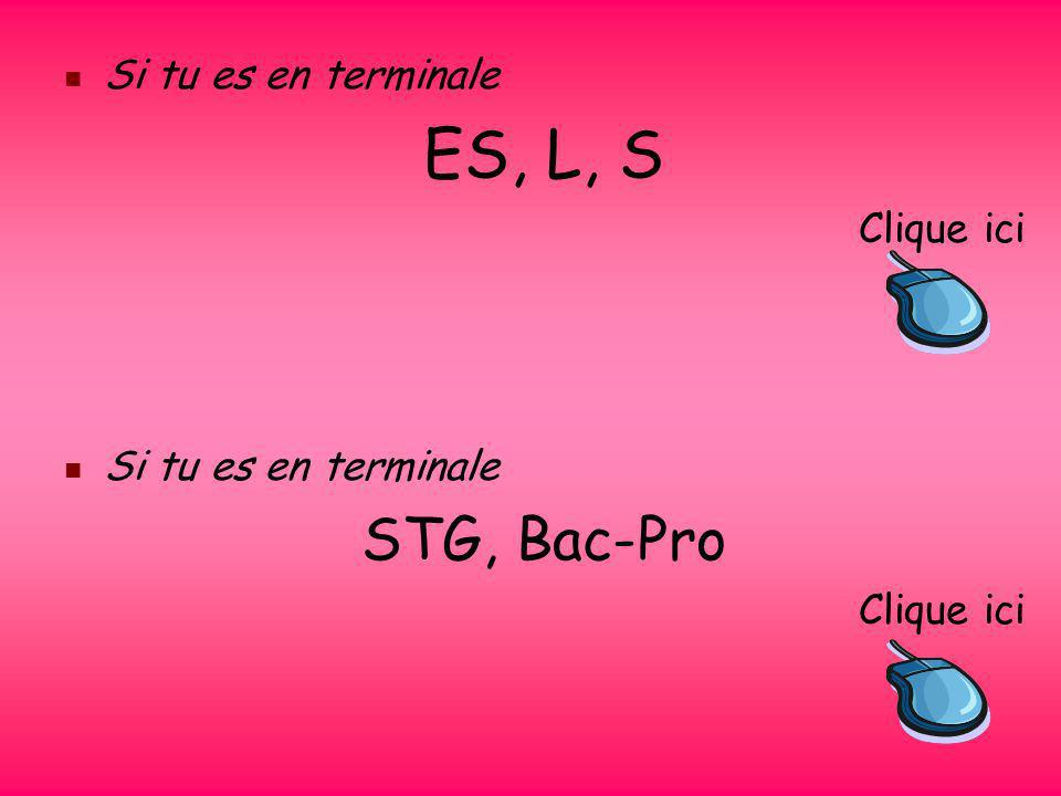 Si tu es en terminale ES, L, S Clique ici STG, Bac-Pro