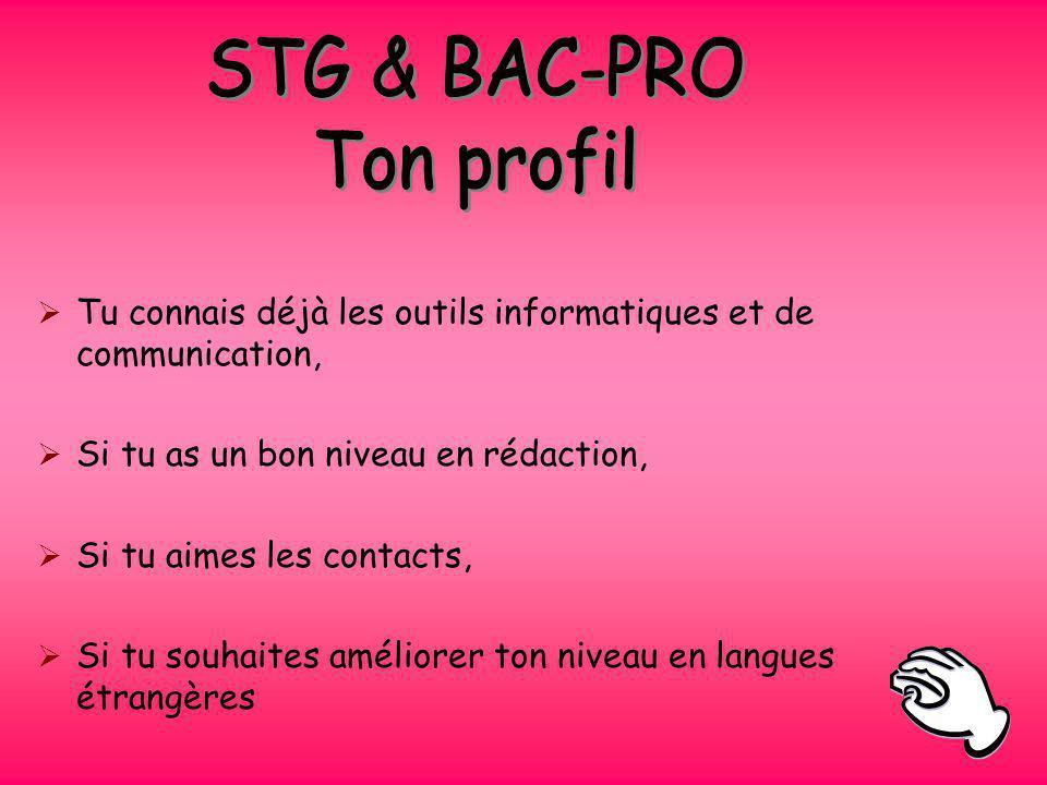 STG & BAC-PRO Ton profil