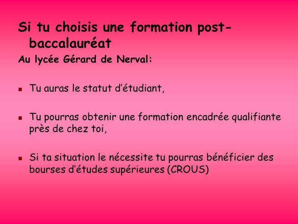 Si tu choisis une formation post-baccalauréat